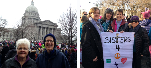 """Mary David and Lynne in front of WI capital building, Denise, Paz & frineds holding sign reading""""Sisters for Peace and Love"""""""