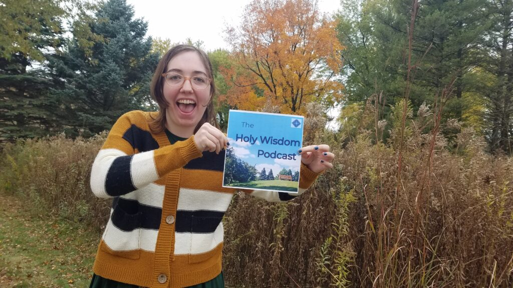 Brooke Moriarty presenting The Holy Wisdom Podcast's cover art.